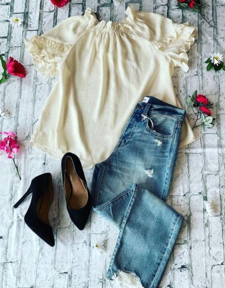 Jeans and Ruffle Top